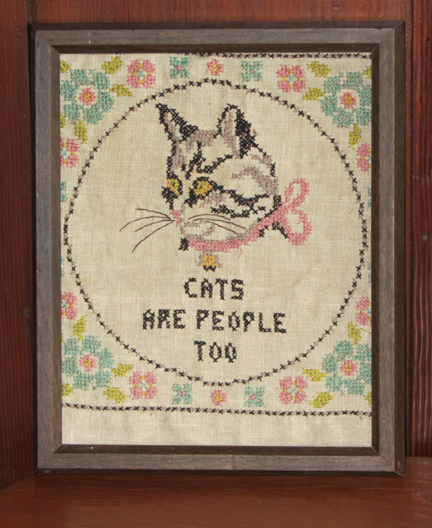 cats are people too cross stitch
