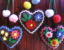 felt & ric rac gingerbread hearts