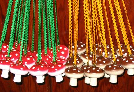 mushroom necklaces!