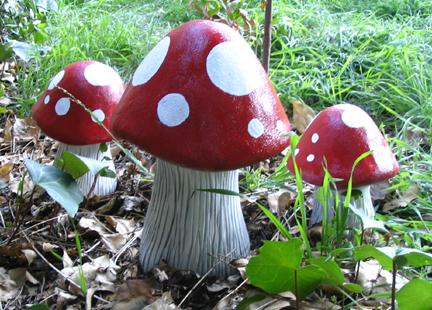 painted mushroom statues