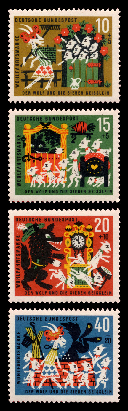 wolf and seven kids stamp germany