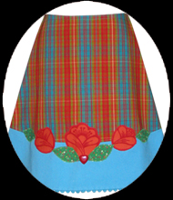 plaid folk flower skirt